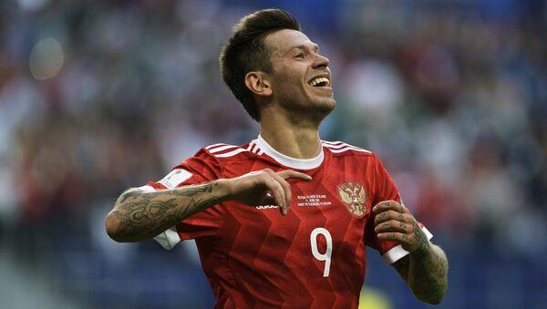 Федор Смолов радуется забитому голу в матче Кубка конфедераций-2017 по футболу между сборными России и Новой Зеландии. 17 июня 2017