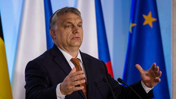 Премьер-министр Венгрии Виктор Орбан во время выступления на встрече стран Вишеградской четверки в Варшаве. 19 июня 2017