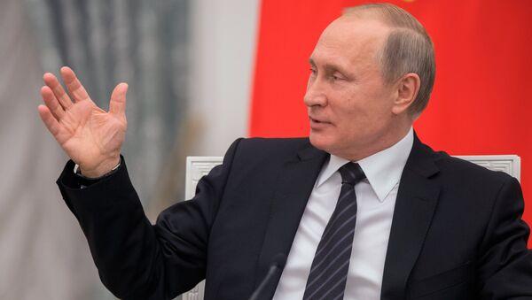 Президент РФ В. Путин во время встречи с членами Общественной палаты шестого состава. 20 июня 2017