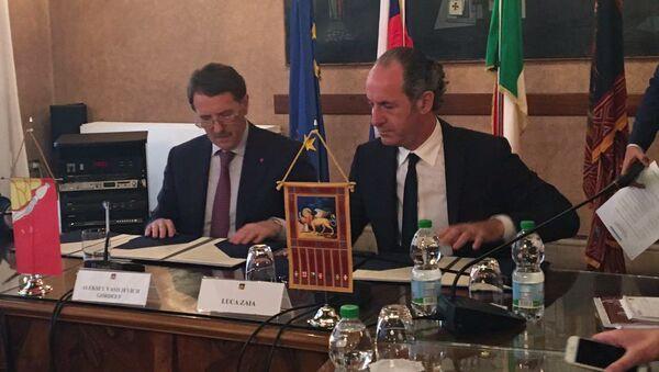 Губернатор Воронежской области Алексей Гордеев и президент итальянской области Венето Лука Дзайа подписали соглашение о сотрудничестве