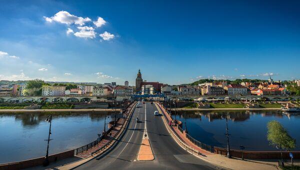 Панорама города Гожув-Велькопольский, Польша. АРхивное фото