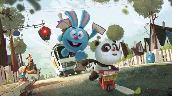 Кадр из российско-китайского мультсериала Крош и Панда