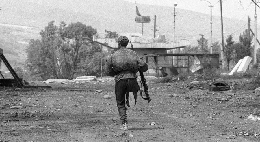 Солдат национальной гвардии Грузии в Цхинвале