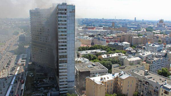 Возгорание в высотном здании на улице Новый Арбат в Москве. 18 июля 2017