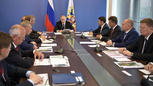 Президент РФ Владимир Путин проводит совещание по проблематике развития гражданской авиации. 18 июля 2017