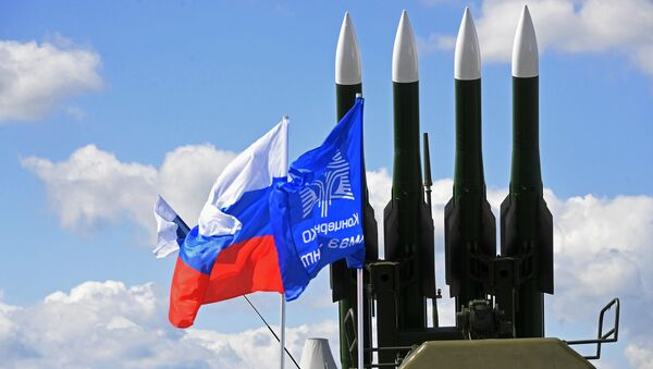 Ракеты зенитного ракетного комплекса Бук-М2Э на Международном авиационно-космическом салоне МАКС-2017 в Жуковском. 19 июля 2017