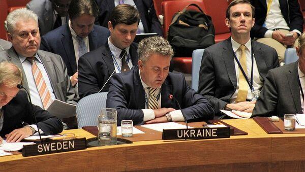 Заместитель министра иностранных дел Украины Сергей Кислица на заседании Совета Безопасности ООН по Африке. 19 июля 2017