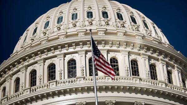 Американский флаг на здании Капитолия в Вашингтоне. Архивное фото