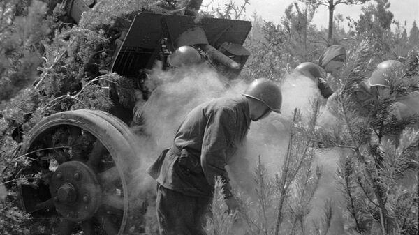 Артиллерийский расчет 2-й ударной армии ведет огонь по врагу в районе Мясного бора. 1942 год