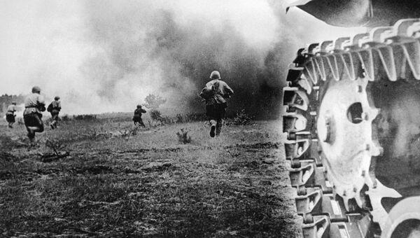 Бойцы Красной Армии идут в бой. Орел, август 1943