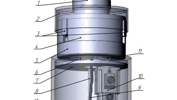 Электромеханический блок торможения, интегрированный в ступицу ВЭУ-3: 1 – ступица; 2 – контактная стенка; 3 – кулачки; 4 – корпус с направляющими; 5 – волновой редуктор; 6 – входной вал (шестерня) редуктора; 7 – установочная шайба; 8 – гибкий трос ручного привода; 9 – провод от генератора; 10 – электрический привод; 11 – приводная шестерня; 12 – фланец мачты