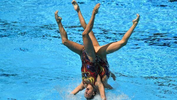 Спортсменки сборной России выступают с произвольной программой в финальных соревнованиях по синхронному плаванию среди групп на XVII чемпионате мира по водным видам спорта в Будапеште