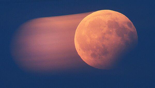 Частичное лунное затмение над Франкфуртом, Германия