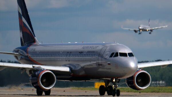 Airbus A320 в аэропорту Шереметьево в Москве