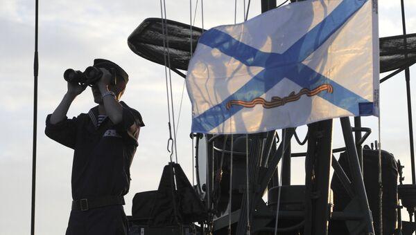 Моряк во время учений Каспийской флотилии