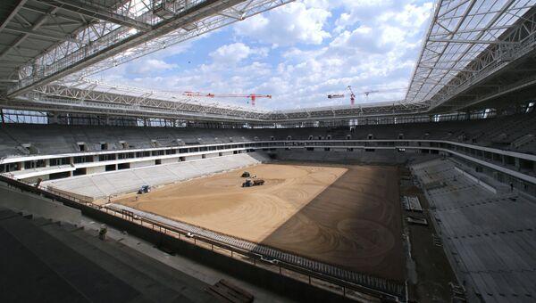 Строительство Стадиона Калининград к чемпионату мира по футболу 2018 года на острове Октябрьский в Калининграде