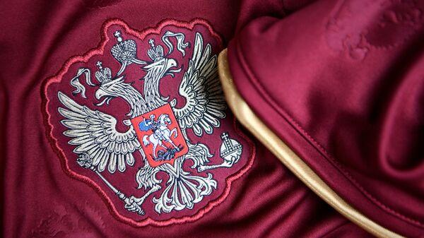 Герб на форме сборной России по футболу
