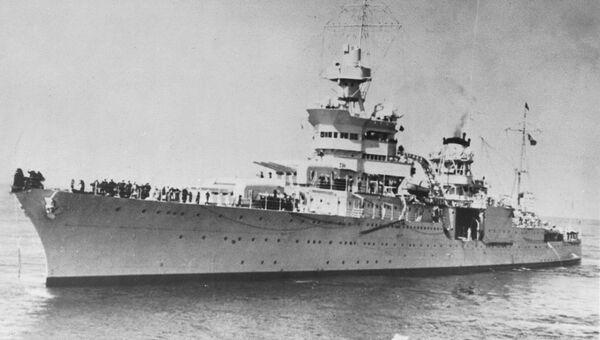 Американский эсминец Индианополис, затонувший в 1945 году в Тихом океане. Архивное фото