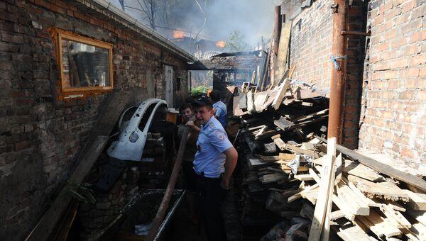 Пожар в Ростове-на-Дону в районе Театрального спуска