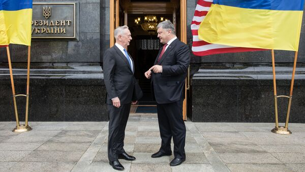 Президент Украины Петр Порошенко и министр обороны США Джеймс Мэттис во время встречи в Киеве. Архивное фото