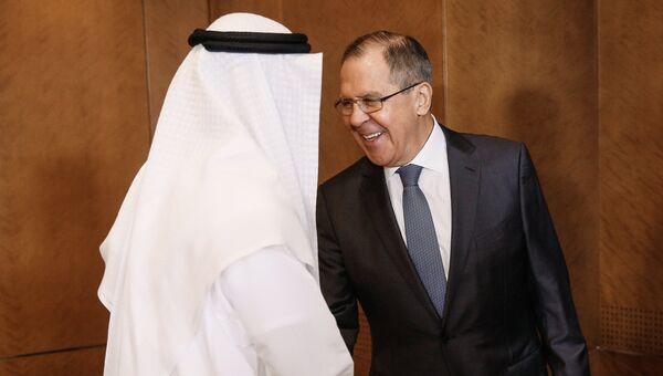 Сергей Лавров и министр иностранных дел ОАЭ Абдалла аль-Нахайян во время встречи. 29 августа 2017