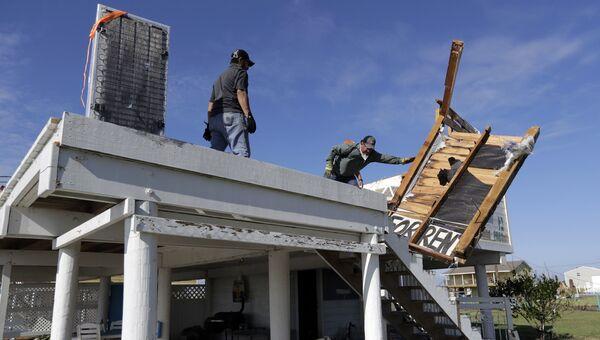 Дом, разрушеный в результате урагана Харви во вторник, 29 августа 2017 года, в Рокпорте, штат Техас