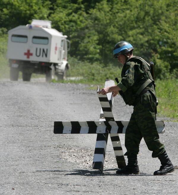 Российский миротворец несет службу на 106-ом наблюдательном посту Коллективных сил по поддержанию мира (КСПМ) в нижней части Кодорского ущелья