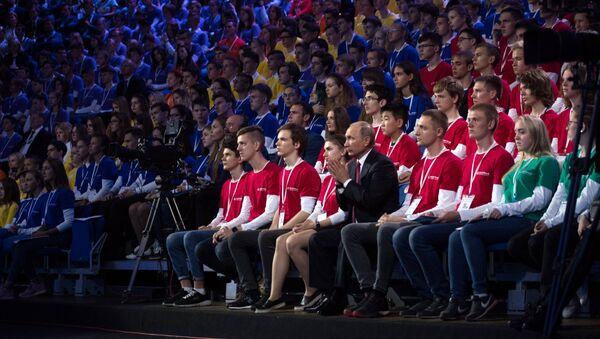 Президент РФ Владимир Путин принимает участие во всероссийском открытом уроке Россия, устремлённая в будущее в рамках ПроеКТОриЯ в Ярославле. 1 сентября 2017