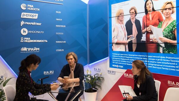 Роспотребнадзора Анна Попова в павильоне МИА Россия сегодня на Восточном экономическом форуме. 6 сентября 2017