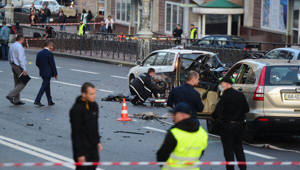 На месте взрыва автомобиля в центре Киева. 8 сентября 2017