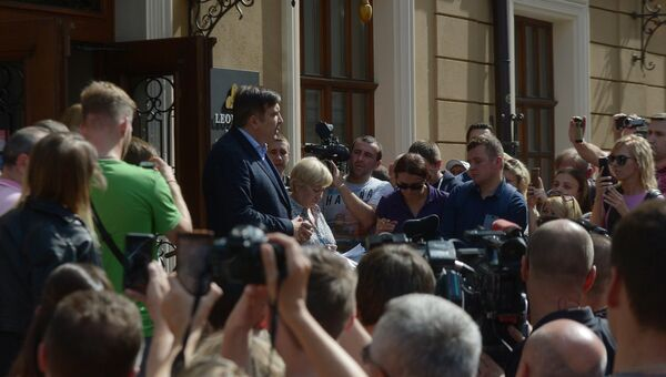 Бывший президент Грузии, экс-губернатор Одесской области Михаил Саакашвили во время пресс-конференции во Львове. 11 сентября 2017