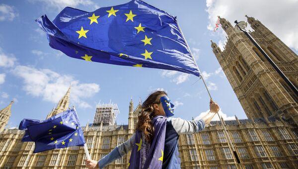 Акция протеста против прекращения членства Великобритании в ЕС у здания парламента в Лондоне