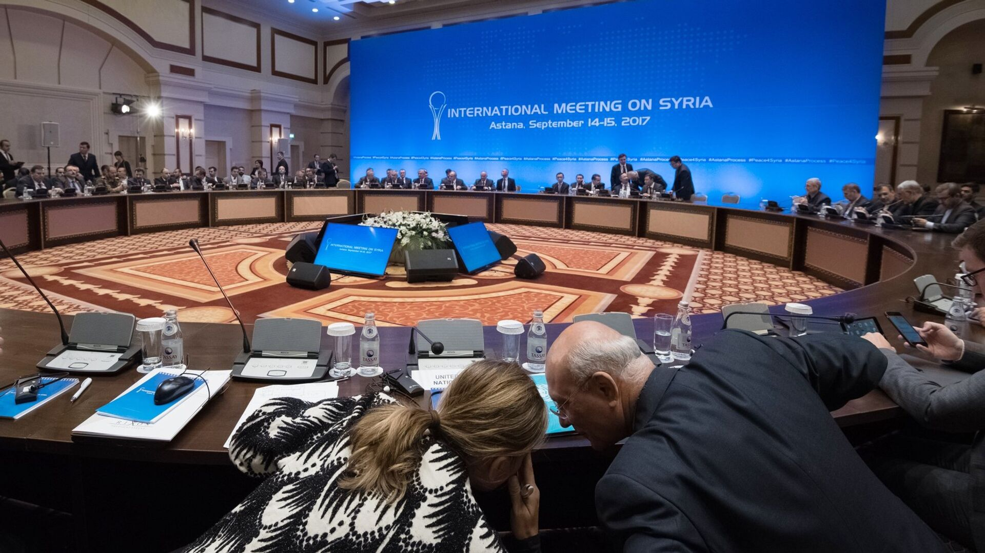 Участники заседания совместной оперативной группы по сирийскому урегулированию на международной встрече в Астане. 15 сентября 2017 - РИА Новости, 1920, 07.07.2021