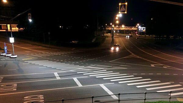 Подсветка пешеходного перехода в Москве