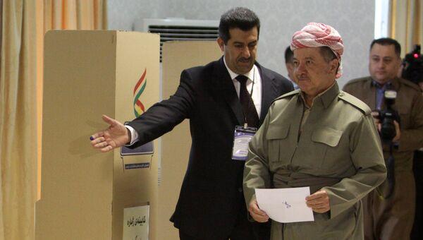 Президент Иракского Курдистана Масуд Барзани в ходе голосования на референдуме о независимости Иракского Курдистана от Багдада, в Эрбиле. 25 сентября 2017