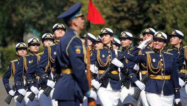 Принятие присяги девушками-курсантами Краснодарского летного училища