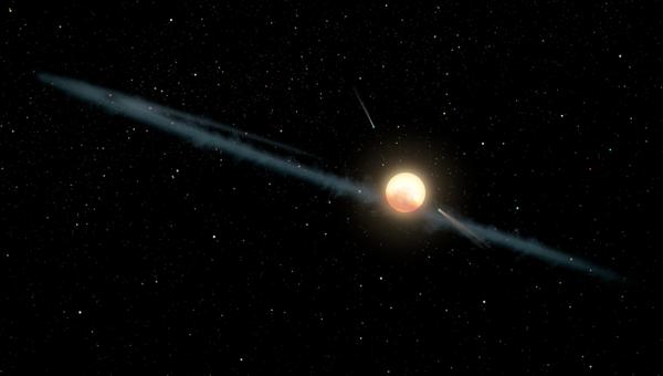 Иллюстрация, на которой изображено гипотетическое неровное кольцо пыли, вращающееся вокруг KIC 8462852