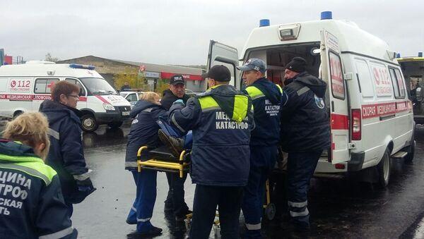 Скорая помощь на месте ДТП с участием автобуса в Коломенском районе Подмосковья