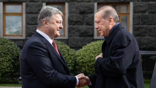 Президент Турции Реджеп Тайип Эрдоган и Петр Порошенко во время церемонии официальной встречи в Киеве. 9 октября 2017