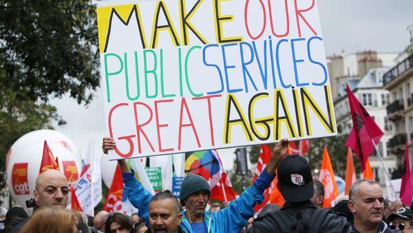 Участники акции протеста против трудовой реформы в Париже. Архивное фото