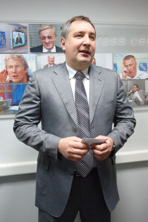 Постоянный представитель РФ при НАТО в Брюсселе Дмитрий Рогозин на пресс-конференции в РИА Новости