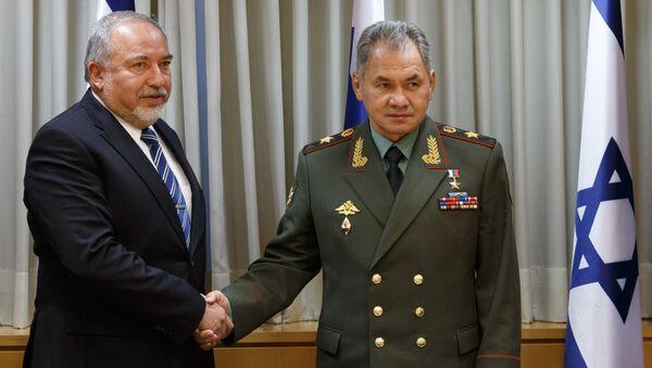 Министр обороны РФ Сергей Шойгу и министр обороны Израиля Авигдор Либерман во время встречи в Тель-Авиве. 16 октября 2017