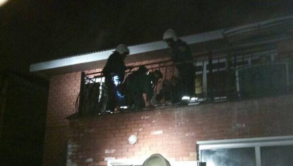 На месте пожара на улице Курортной в городе Иркутске