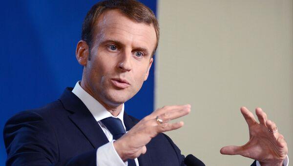 Президент Франции Эммануэль Макрон во время пресс-конференции после заседания Совета Европы в Брюсселе