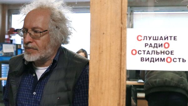 Главный редактор радиостанции Эхо Москвы Алексей Венедиктов в редакции. Архивное фото