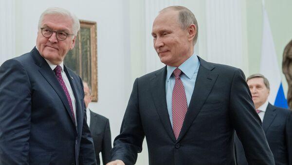 Владимир Путин и федеральный президент Федеративной Республики Германия Франк-Вальтер Штайнмайер во время встречи. 25 октября 2017