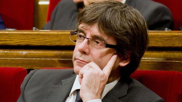 Глава женералитета Каталонии Карлес Пучдемон на заседании парламента Каталонии. 26 октября 2017