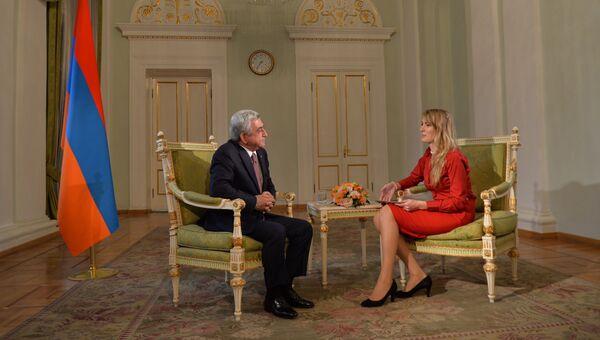 Президент Армении Серж Саргсян во время интервью РИА Новости