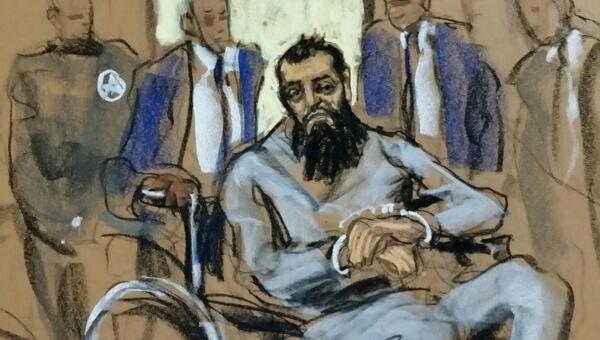 Подозреваемый в совершении теракта в Нью-Йорке Сейфулло Саипов на рисунке из зала суда. 1 ноября 2017