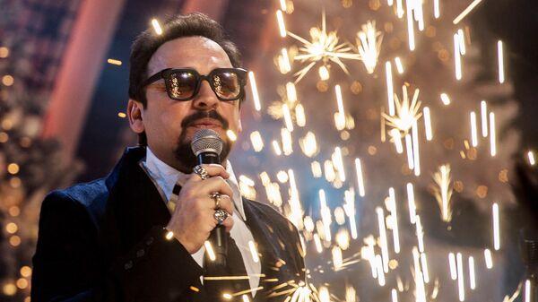 Певец Стас Михайлов на съемках новогодней программы на Первом канале